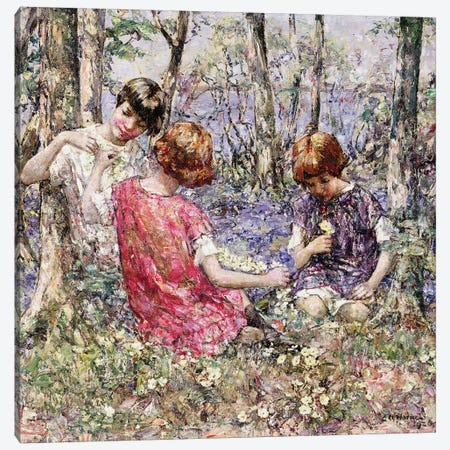 The Primrose Chain  Canvas Print #BMN3710} by Edward Atkinson Hornel Canvas Art Print