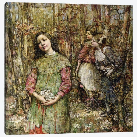 Gathering Snowdrops, 1917  3-Piece Canvas #BMN3711} by Edward Atkinson Hornel Art Print