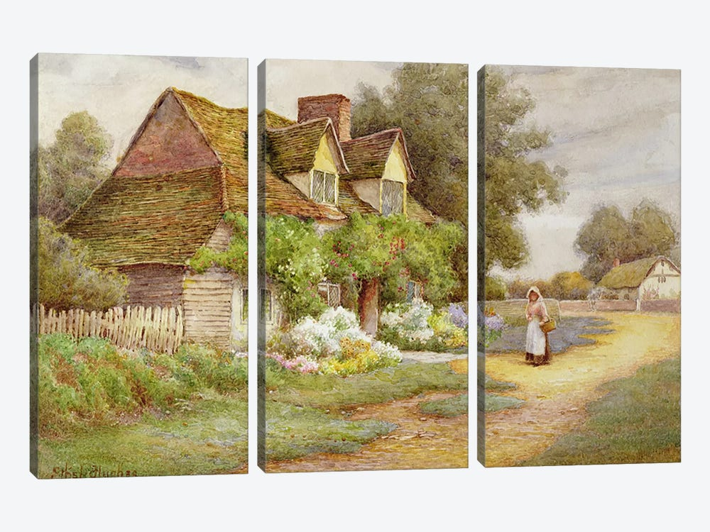 Outside the Cottage  by Ethel Hughes 3-piece Canvas Print