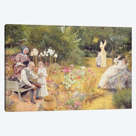 Calling the Bees  Canvas Print #BMN3717} by Edward Killingworth Johnson Canvas Wall Art