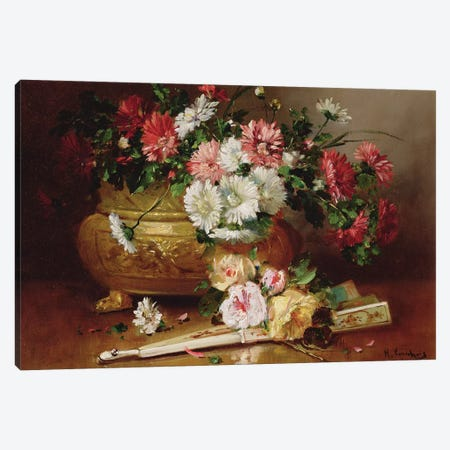 Still Life with a Fan  Canvas Print #BMN3720} by Eugene Henri Cauchois Canvas Artwork