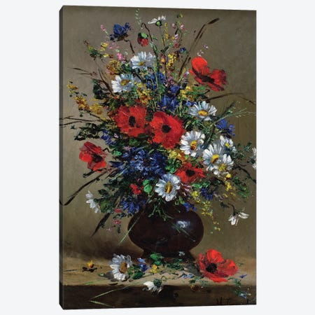 Poppies and Daisies  Canvas Print #BMN3721} by Eugene Henri Cauchois Canvas Artwork