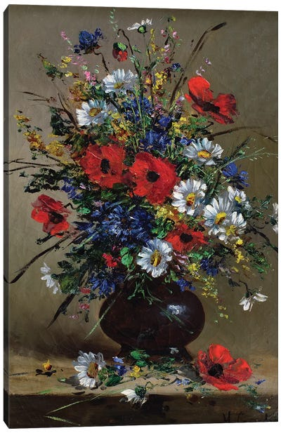 Poppies and Daisies  Canvas Art Print