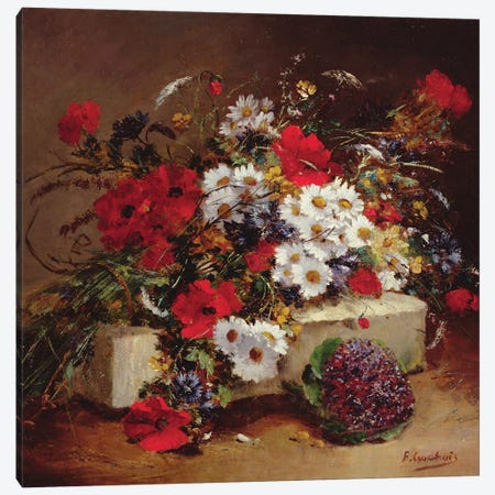 Poppies and Daisies  Canvas Print #BMN3722} by Eugene Henri Cauchois Canvas Artwork