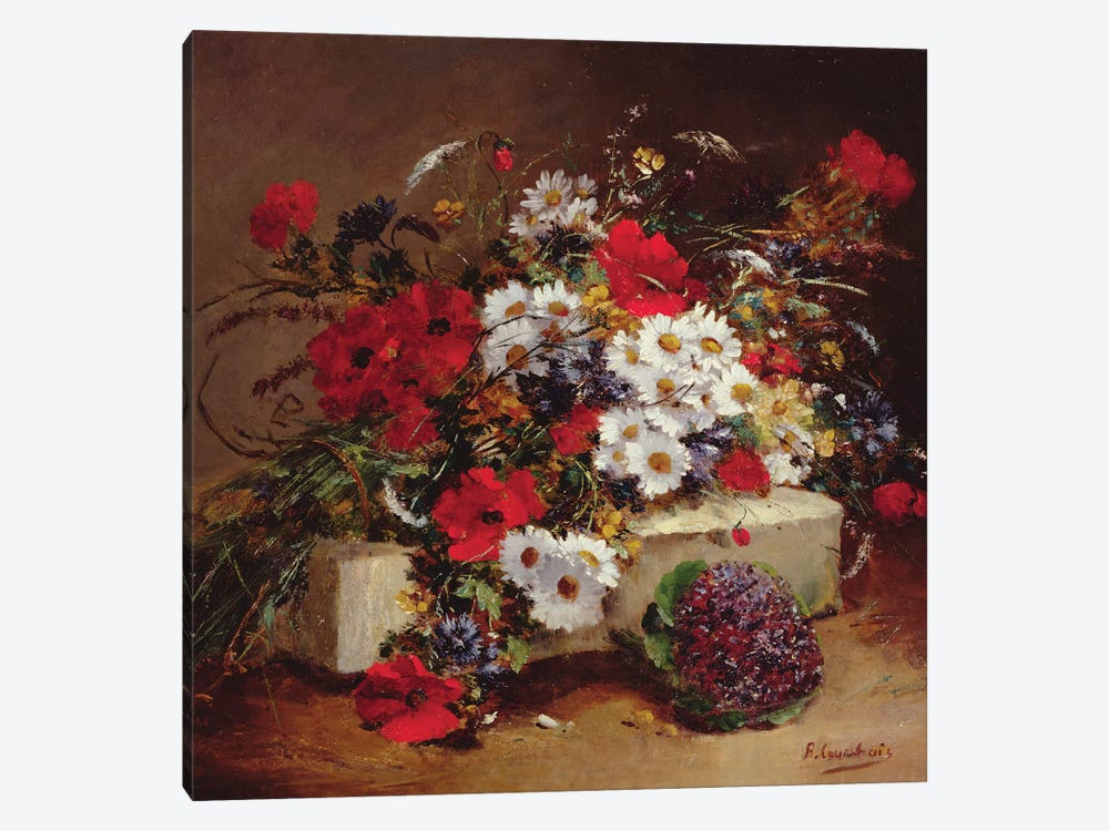 Poppies and Daisies  by Eugene Henri Cauchois 1-piece Canvas Artwork