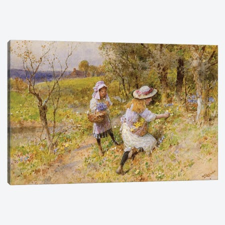The Primrose Gatherers  Canvas Print #BMN3730} by William Stephen Coleman Canvas Art Print