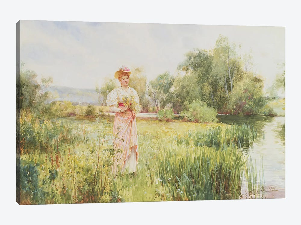 By the River, 1896 by Alfred Glendening 1-piece Canvas Art Print