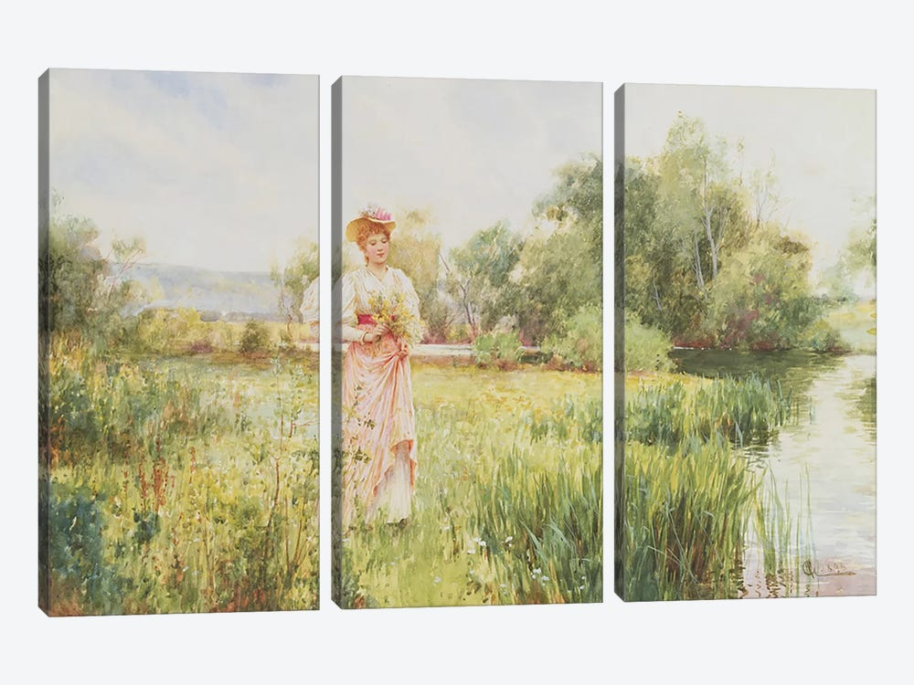 By the River, 1896  by Alfred Glendening 3-piece Art Print