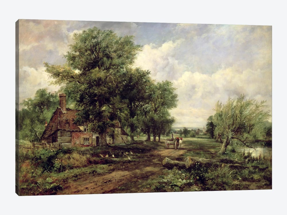 Wooded river landscape with a cottage and a horse drawn cart by Frederick Waters Watts 1-piece Canvas Art