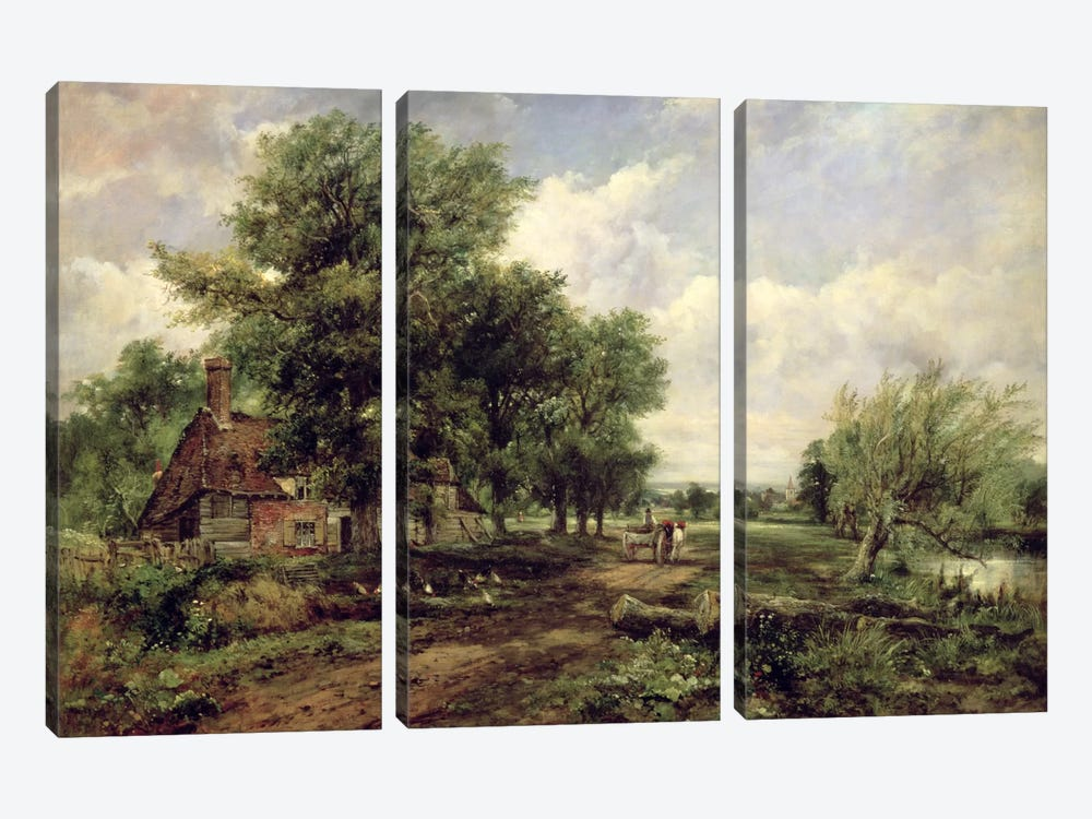 Wooded river landscape with a cottage and a horse drawn cart by Frederick Waters Watts 3-piece Canvas Art
