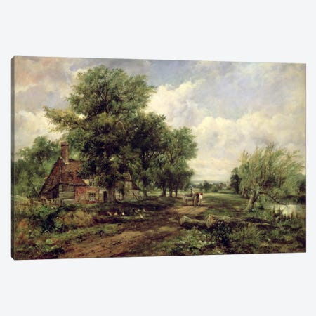 Wooded river landscape with a cottage and a horse drawn cart Canvas Print #BMN374} by Frederick Waters Watts Art Print