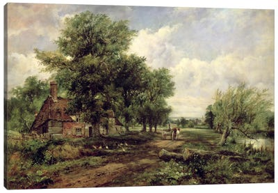 Wooded river landscape with a cottage and a horse drawn cart Canvas Art Print
