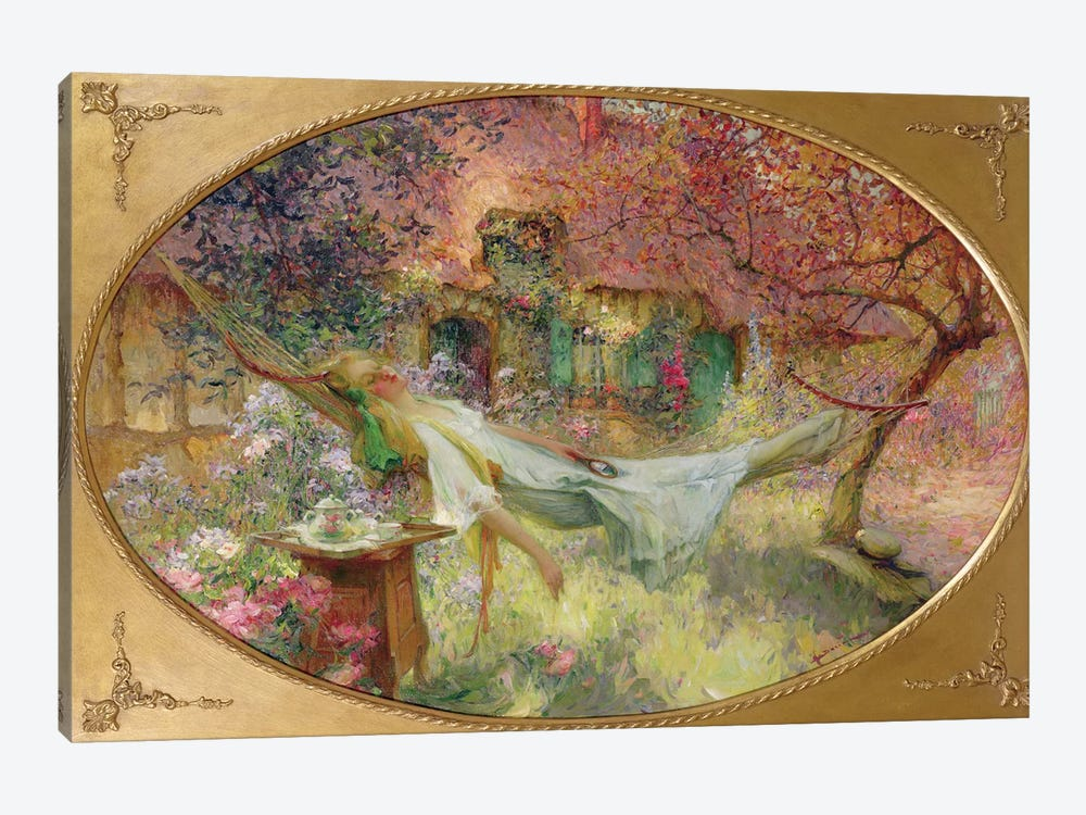 Summer in the Garden  by Henri-Gaston Darien 1-piece Canvas Art Print