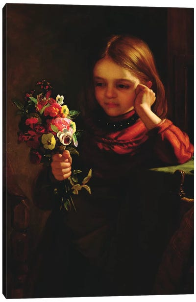 Girl with Flowers  Canvas Art Print