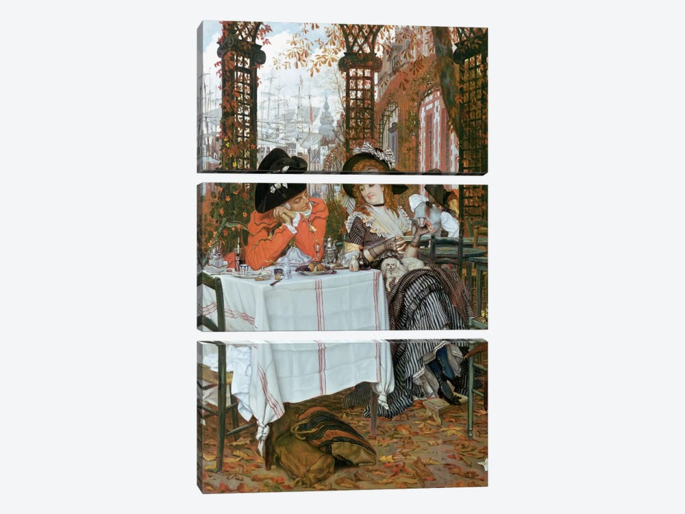 A Luncheon  by James Jacques Joseph Tissot 3-piece Canvas Print