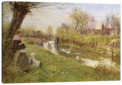 Watching the Ducks, 1890  Canvas Art Print