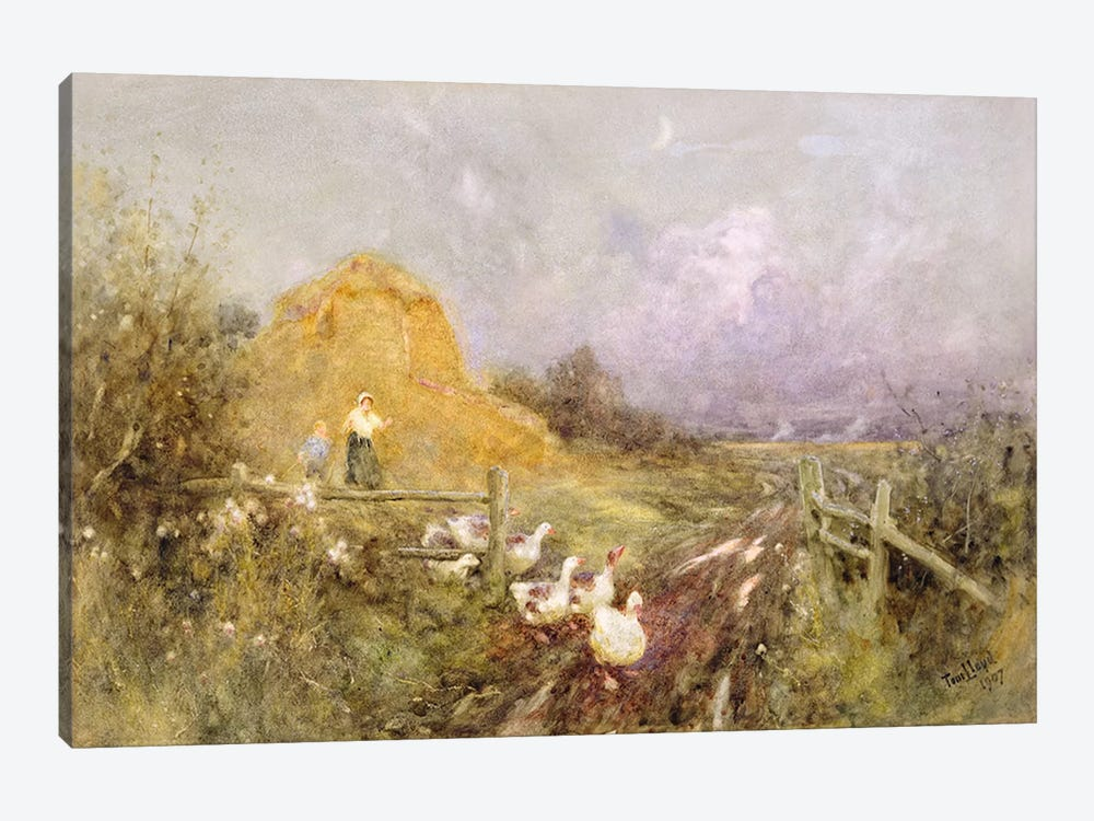 Driving Geese, Early Evening, 1907  by Thomas James Lloyd 1-piece Canvas Wall Art