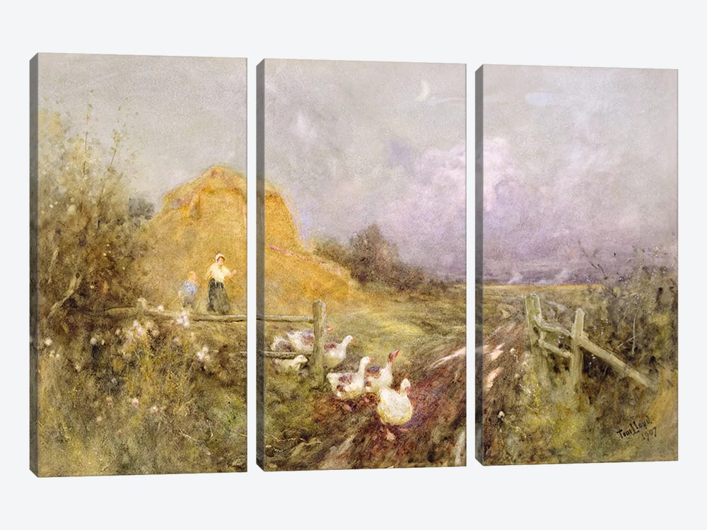 Driving Geese, Early Evening, 1907 by Thomas James Lloyd 3-piece Canvas Artwork
