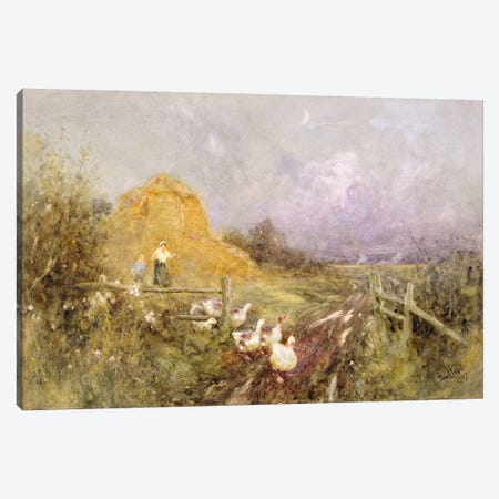 Driving Geese, Early Evening, 1907  3-Piece Canvas #BMN3771} by Thomas James Lloyd Canvas Art Print