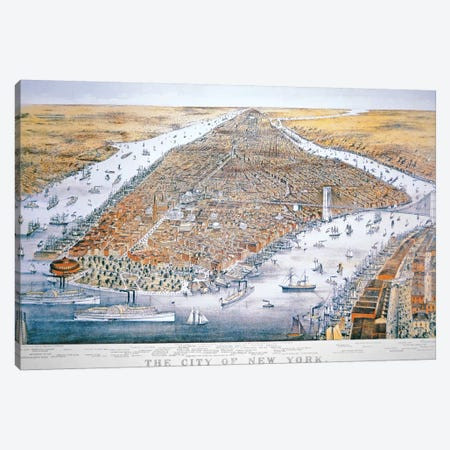 The City of New York, printed by Parsons and Atwater, published by Currier & Ives, 1876  Canvas Print #BMN3773} by American School Canvas Print