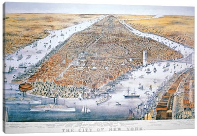 The City of New York, printed by Parsons and Atwater, published by Currier & Ives, 1876  Canvas Art Print