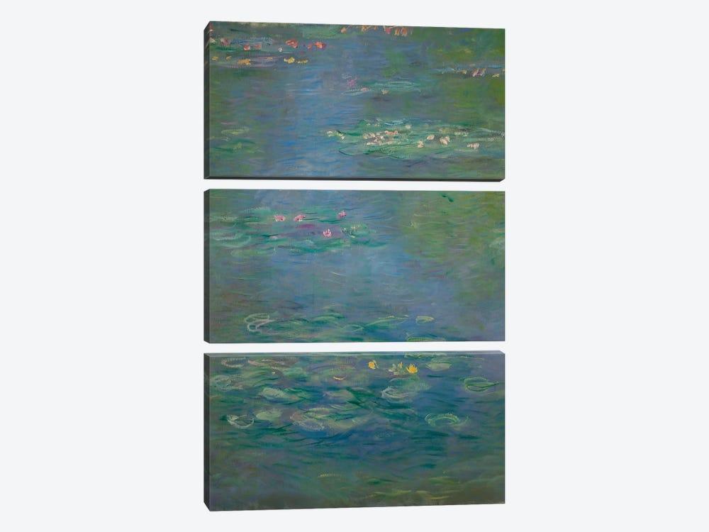 Waterlilies, detail, 1903  by Claude Monet 3-piece Canvas Print
