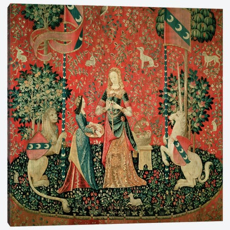 The Lady and the Unicorn: 'Smell'  Canvas Print #BMN377} by French School Canvas Print