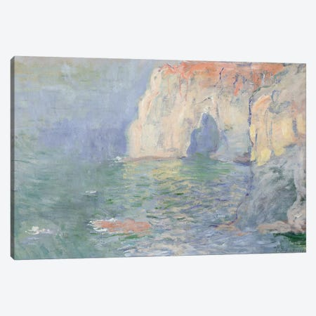 Etretat: Le Manneport, reflections on the water, 1885  Canvas Print #BMN3784} by Claude Monet Canvas Print