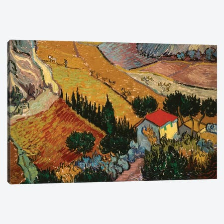 Landscape with House and Ploughman, 1889  Canvas Print #BMN3788} by Vincent van Gogh Canvas Art