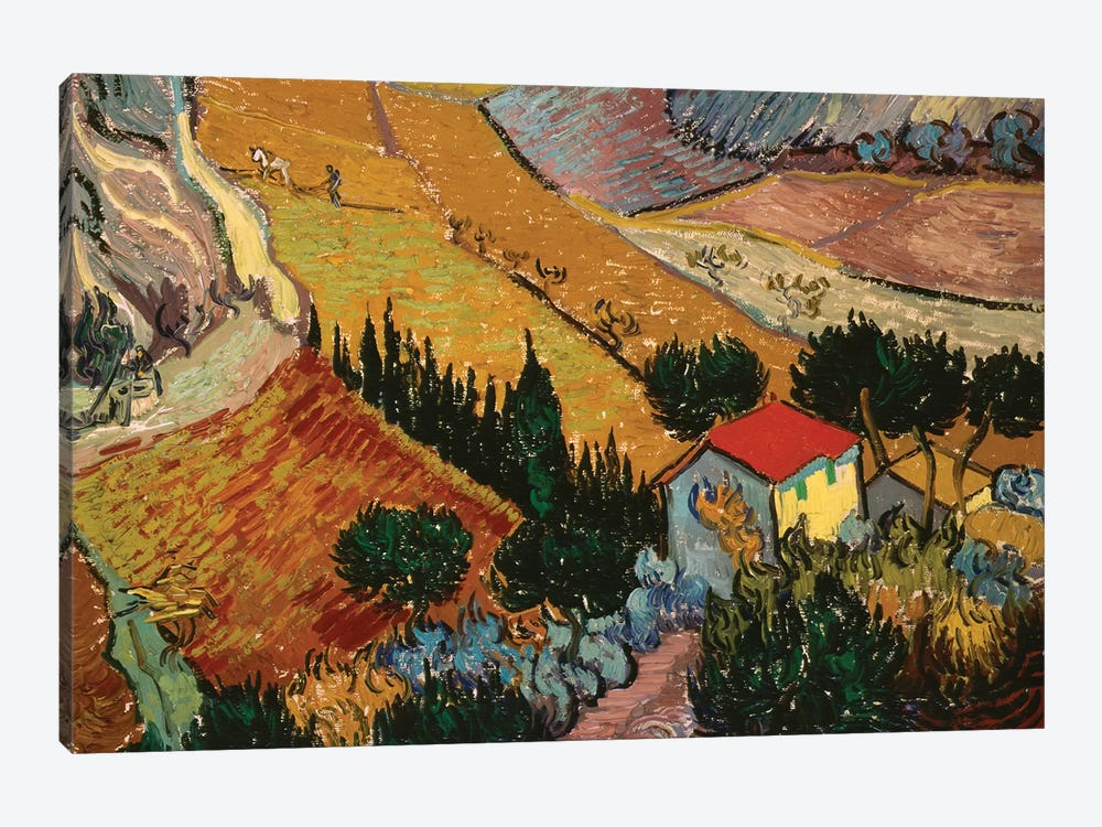 Landscape with House and Ploughman, 1889  by Vincent van Gogh 1-piece Canvas Artwork