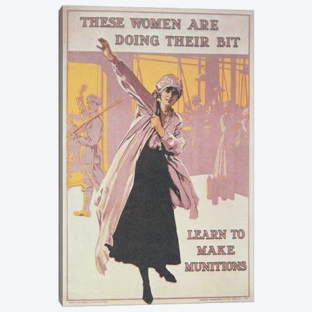Poster depicting women making munitions  Canvas Print #BMN3797} by English School Canvas Wall Art