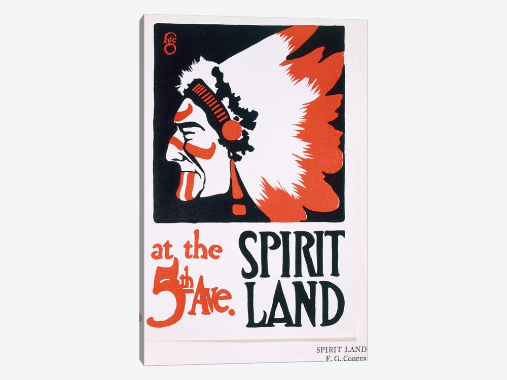 Poster for 'Spirit Land', an Indian Experience venue on Fifth Avenue  by Frederic G. Cooper 1-piece Canvas Wall Art