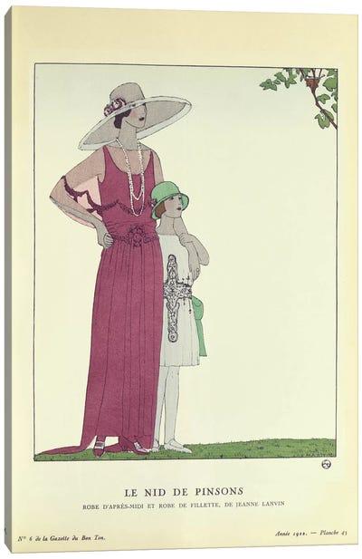 Le Nid de Pinsons, from 'Le Gazette du Bon Ton' 1922 (colour litho) Canvas Art Print