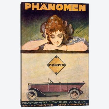 Advertisement for the Phanomen car, 1907-27  Canvas Print #BMN3800} by Behrmann Canvas Art Print