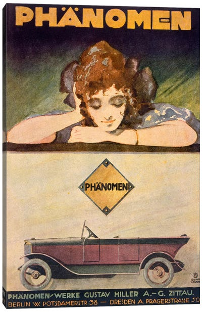 Advertisement for the Phanomen car, 1907-27  Canvas Art Print