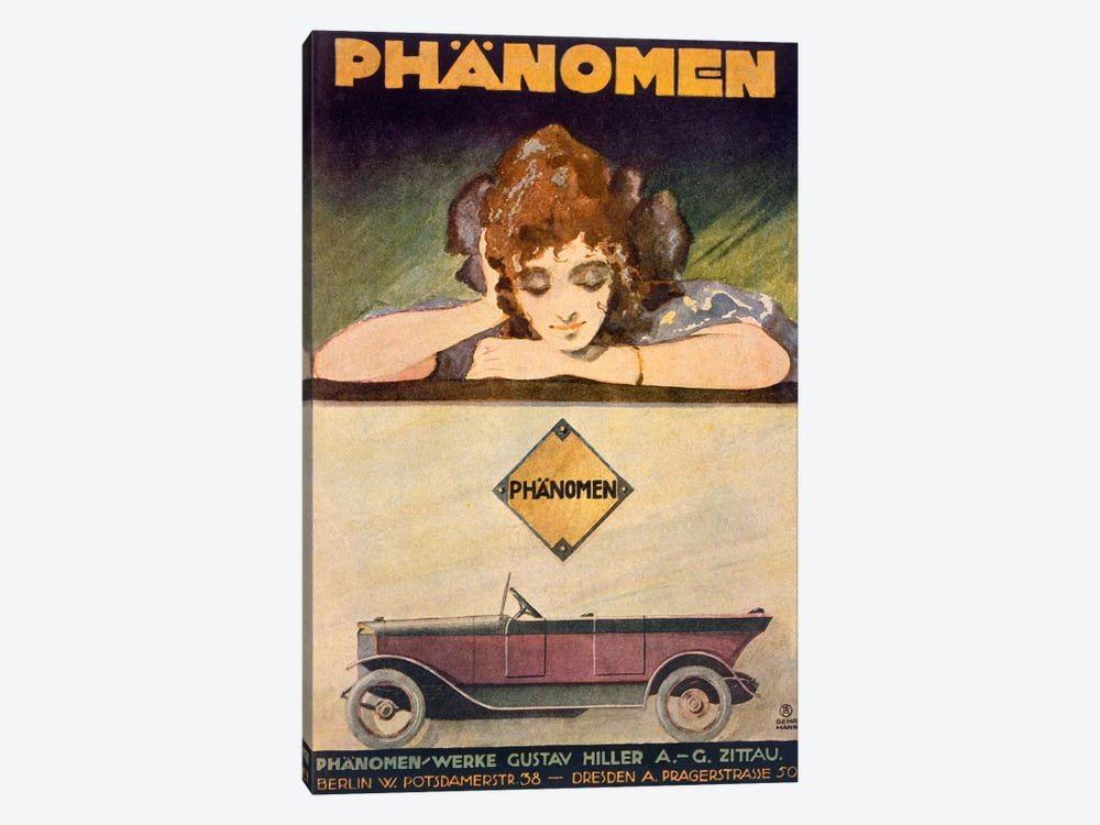 Advertisement for the Phanomen car, 1907-27  by Behrmann 1-piece Canvas Art