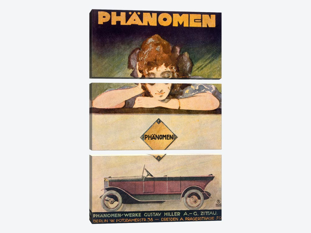 Advertisement for the Phanomen car, 1907-27  by Behrmann 3-piece Canvas Wall Art