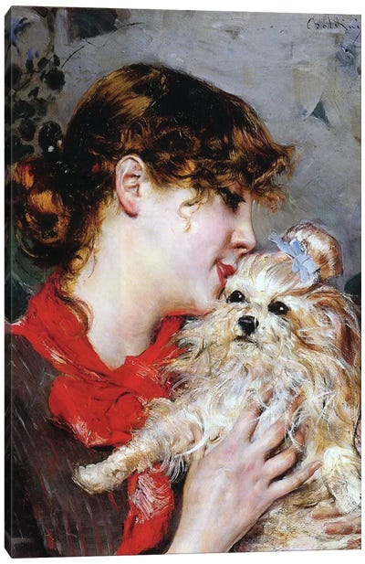 The actress Rejane and her dog, c.1885  Canvas Art Print