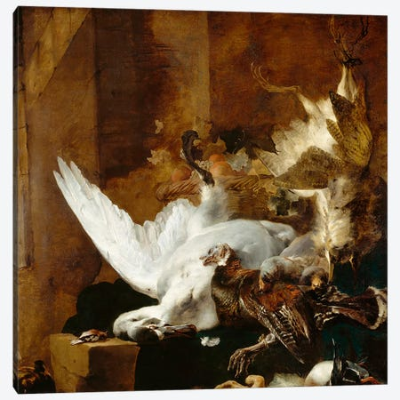 Still life with a dead swan, c.1651  Canvas Print #BMN3807} by Jan Baptist Weenix Canvas Wall Art