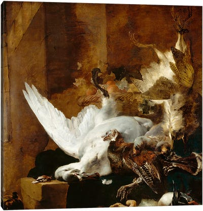 Still life with a dead swan, c.1651 Canvas Art Print