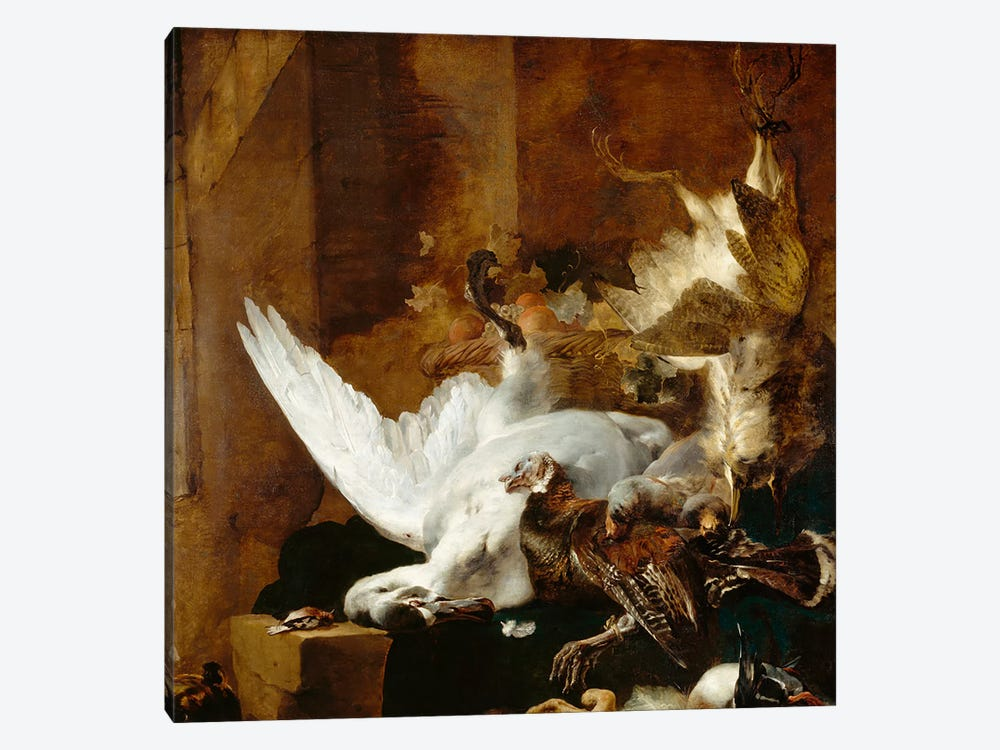 Still life with a dead swan, c.1651 by Jan Baptist Weenix 1-piece Canvas Print