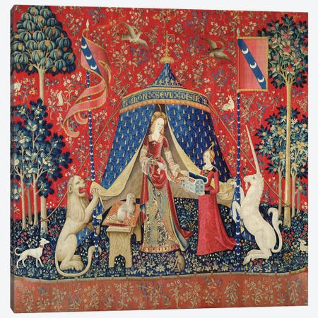 The Lady and the Unicorn: 'To my only desire'  Canvas Print #BMN380} by French School Art Print