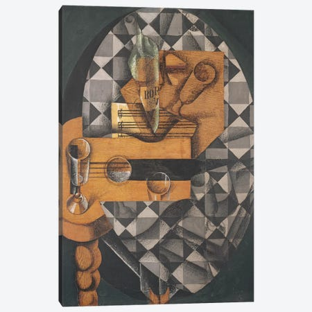 Guitar, Bottle, and Glass, 1914  Canvas Print #BMN3813} by Juan Gris Canvas Wall Art