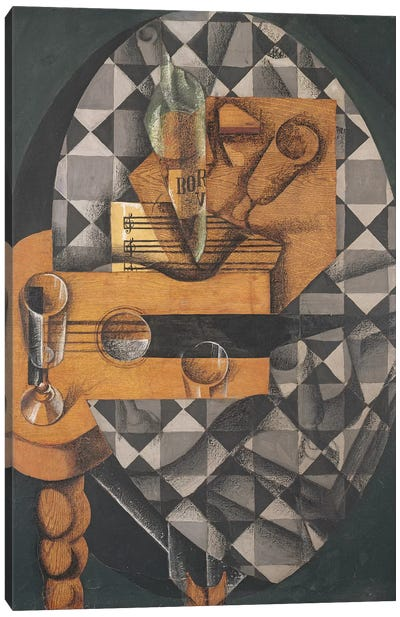 Guitar, Bottle, and Glass, 1914  Canvas Art Print