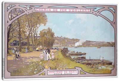 Poster advertising the attractions of a visit to the Parisian suburb of Athis-Mons with the 'Chemins de Fer d'Orleans', 1910-14  Canvas Art Print