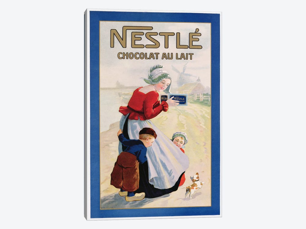 Advertisement for Nestle Chocolat au Lait, c.1920  by Unknown Artist 1-piece Canvas Wall Art