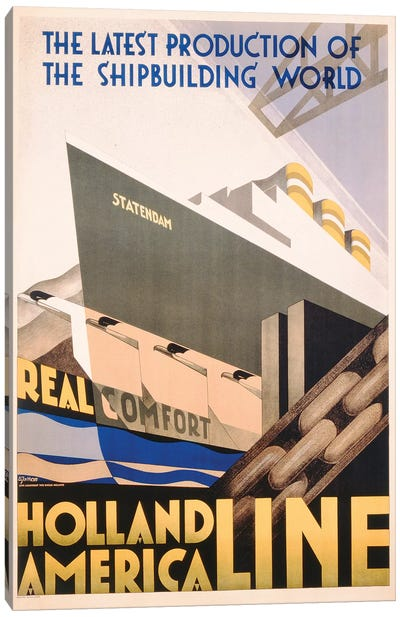 Advertisement for the Holland America Line, c.1932  Canvas Art Print