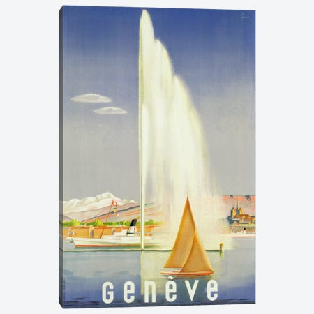 Advertisement for travel to Geneva, c.1937  Canvas Print #BMN3821} by Fehr Canvas Art Print