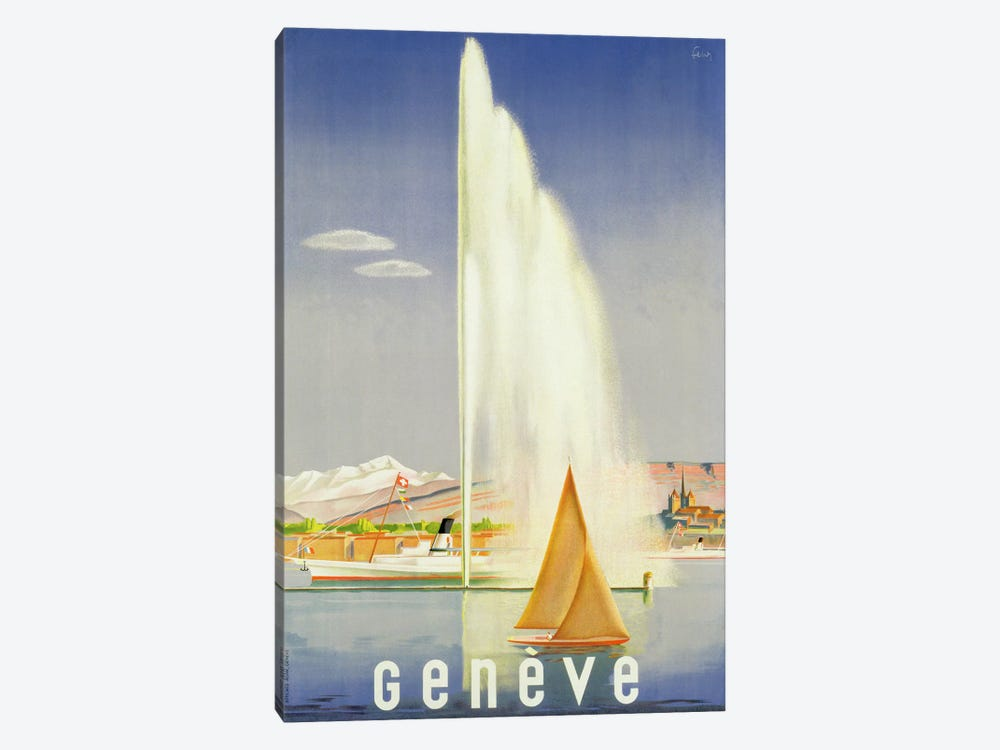 Advertisement for travel to Geneva, c.1937 by Fehr 1-piece Canvas Print