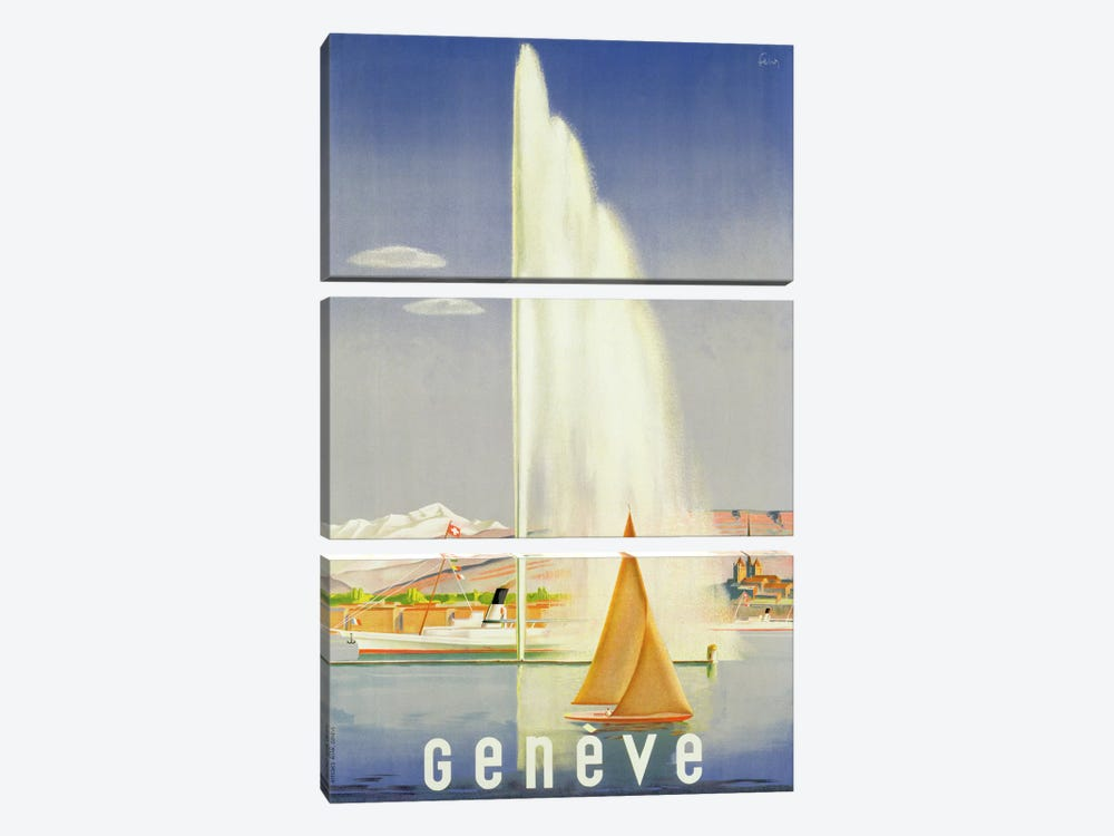 Advertisement for travel to Geneva, c.1937  by Fehr 3-piece Art Print